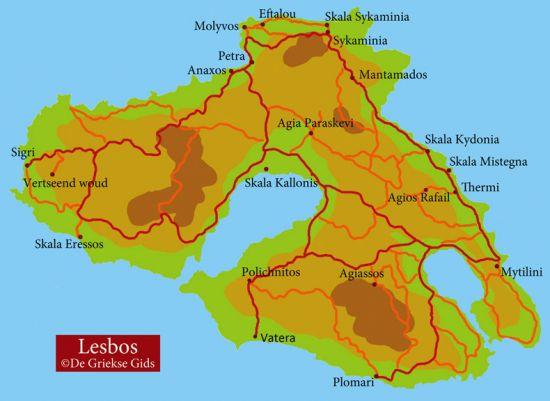 Kaart Lesbos